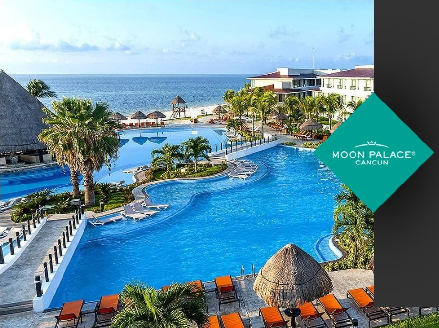 View of pools and ocean at Moon Palace Resort in Cancun Mexico